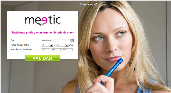 Registrarse en Meetic